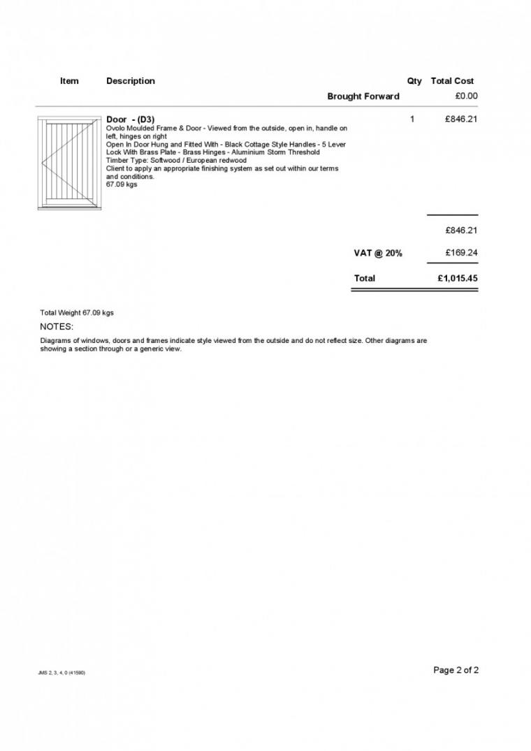 Joinery Estimate