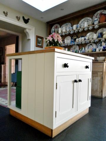 Painted island unit with oak top