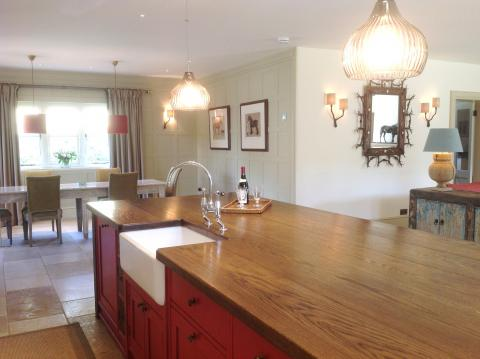 bespoke kitchen island with solid Oak top