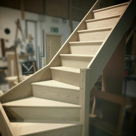 Solid oak winder staircase