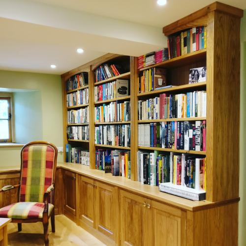 Solid oak library designed and constructed by G S Haydon