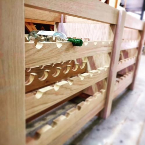 Solid oak wine rack unit