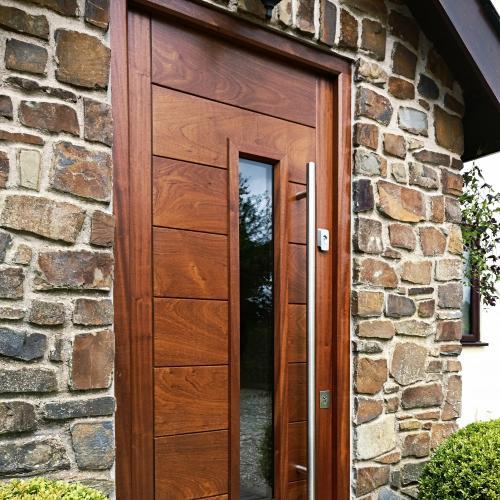 Bespoke hardwood front door with horizontal boarding