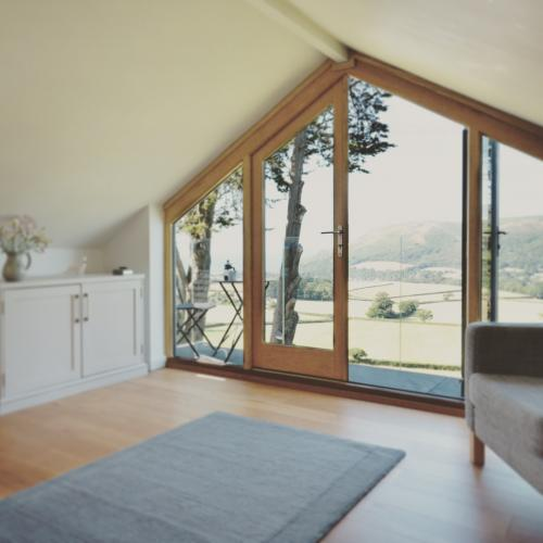 Angled gable joinery with a view of Somerset