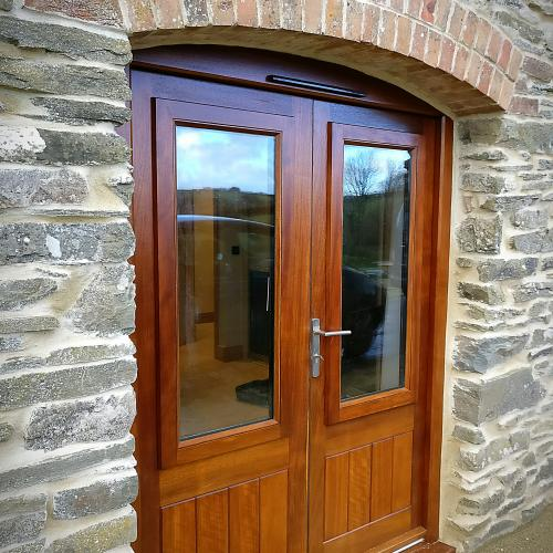 Hardwood doors with opening window