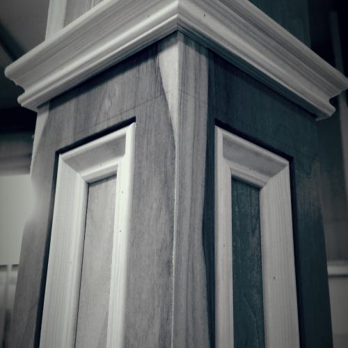 Custom made box newel posts